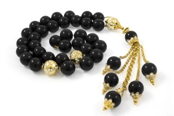 Diamonds & Gold Black Baltic Amber Sebha, Misbaha, Prayer Beads MS30004