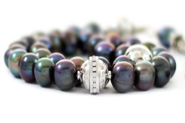 Diamonds & Gold Grey Cultured Pearls Sebha, Misbaha, Prayer Beads MS30002