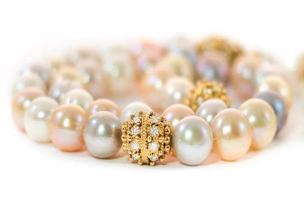 Diamonds & Gold Multi Colored Cultured Pearls Sebha, Misbaha, Prayer Beads MS30003